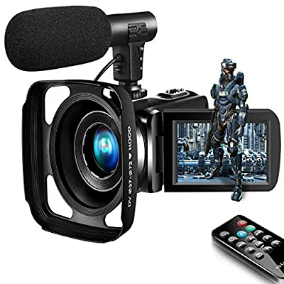 Camcorder Video Camera,Vlogging Camera for Youtube Camcorder Ultra HD 2.7K 16X Digital Zoom 3.0 Inch Touch Screen Support Pause Function & Time-Lapse from SAULEOO