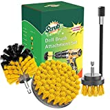 SCRUBIT Drill Brush Attachment Set - Power Scrubber Tile and Grout Tool - Use for Kitchen, Shower, Bathtub and Floor Surface - All Purpose Household Cleaning Kit Includes 3 Brushes with A Bit Extender