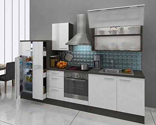 respekta Premium Küchenzeile 310 cm Eiche-Grau Weiss Kühl Gefrier Kombi 144cm Ceran Umluft