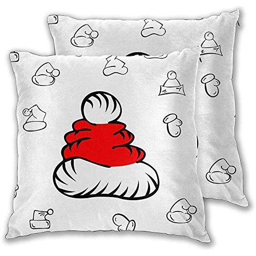 DayToy Set von 1 Kissenbezug Weihnachtsmütze Muster Vektor Bild Kissenschutz Standard Reißverschluss Fälle Kissenbezüge Königin
