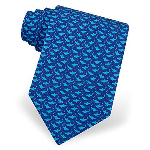Corbata de seda Micro Sharks – Corbata de cuello azul para hombre