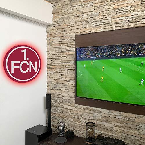 1 FC Nürnberg FCN Wandcover mit LED Beleuchtung - Fußballmannschafts Wappen für echte Fans - Fanartikel Bundesliga Sportverein Fußball Wandbild Der Club FCN Rot Weiß 1900