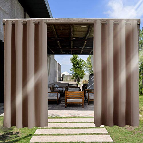 RHF Outdoor Blackout Curtains, 2 Panels Patio Curtains, Outdoor Curtain for Patio, Outdoor Patio Curtains, Outdoor Patio Curtains Waterproof with Grommets, Outdoor Privacy Porch Curtains-Tan, 52x96