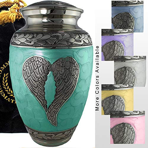 Green Loving Angel Cremation Urns for Human Ashes Adult for Funeral, Burial, Columbarium or Home, Cremation Urns for Human Ashes Adult 200 Cubic inches, Urns for Ashes (Adult/Large)