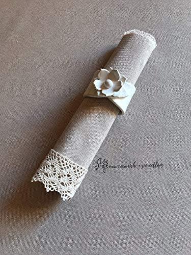 Porta tovagliolo, portatovaglioli personalizzati fatti a mano in ceramica bianca artigianale artistica