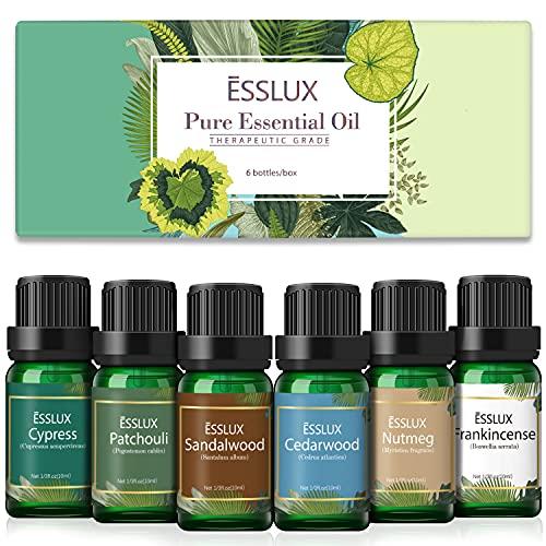 Essential Oils Set, ESSLUX Men Scents Collection with Sandalwood, Patchouli, Cedarwood, Cypress, Frankincense, Nutmeg Essential Oils for Diffuser, Massage, Home Fragrance, Soap & Candles Making