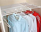 Csstel Adjustable Storage Rack Shelf, Retractable Layed Separator Shelf with 4 Pinch Plates for Wardrobe, Cupboard, Kitchen, Bathroom, Bookcase Compartment Collecting/48-75cm (White)