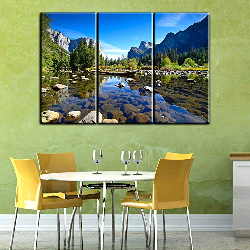 Extra Large Wall Pictures for Living Room El Capitan Rock Formation at Yosemite National Park Paintings on Canvas 3 Panel Art Artwork Home Decor Framed Ready to Hang Posters and Prints(40''x60'')