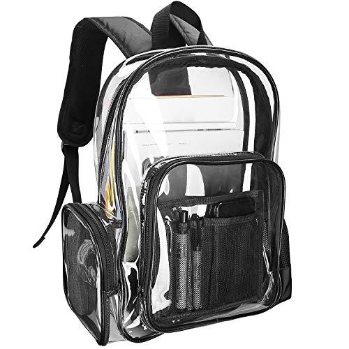 ProCase Klarer Rucksack Plastik Schulrucksack Schultasche,Transparent Wasserdicht Durchsichtig Strapazierfähige PVC-Buch-Tasche Clear Backpack für Schule Theater und Beruf -Schwarz