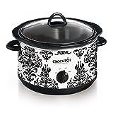 Crock Pot 4-1/2-Quart Slow Cooker, Black Demask Pattern (SCR450-PT)