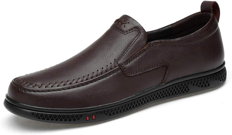 Fahrende Schuhe der Männer beiläufiger Müßiggänger bequemer perforierter Flacher Beleg Beleg Beleg auf echtem Leder der oberen runden Zehe,Grille Schuhe (Farbe   Braun, Größe   45 EU)  dfb8a8