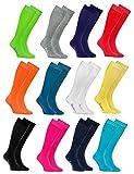 Rainbow Socks - Hombre Mujer Altos Calcetines Largos Hasta de Rodilla de Algodón - 12 Pares - Blanco Gris Negro Turquesa Azul Azul Marino Verde Rojo Amarillo Naranja Rosa - Talla 39-41
