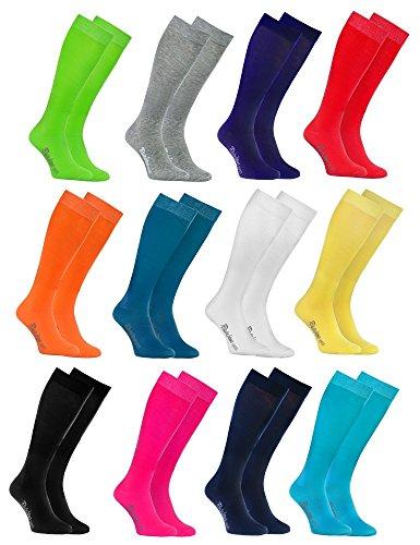 Rainbow Socks - Donna Uomo Colorate Calzini Lunghi Al Ginocchio di Cotone - 12 Paia - Bianco Grigio Negro Turquesa Blu Verde Rojo Amarillo Naranja Rosa Blu Marino - Tamaño 42-43