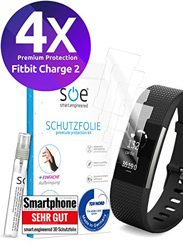 [4 Stück] Schutzfolien kompatibel mit Fitbit Charge 2 - [Made in Germany - TÜV NORD] Premium Schutz - volle Abdeckung - blasenfreie Aufbringung - HD-Klar - Wasser- & schmutzabweisend - Kein Ablösen