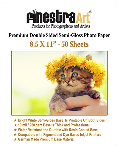 8.5x11 50 Sheets Premium Double Sided Semi Gloss Photo Paper 250GSM