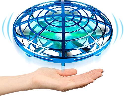EKOHOME Flying Ball, Mini UFO Drone Bola voladora RC Flying Juguetes, Recargable Drone Helicóptero Inducción Infrarroja Bola de Vuelo Sensores Luces LED brillantes Giratorias De 360 para Niños (Azul)