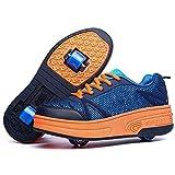 Chaussures à roulettes, Multicolore Chaussures Baskets pour Garçons et Filles Enfants Lumineuse avec Roue Chaussures de Sport,Darkblue2wheels,39EU