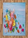 ABAKUHAUS Coniglietto di Pasqua Moquette Tessuta Piatta, Biscotti di Festa, per Soggiorno Camera da Letto Sala da Pranzo, 120 x 180 cm, Mehrfarbig