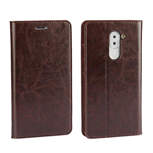 Sunrive Für Huawei Honor 6X, Echt-Ledertasche Schutzhülle Etui Hülle mit Standfunktion Flip Lederhülle Cover Hülle Handyhülle Schalen Handy Tasche Kartenfächer Kreditkarte Taschen(braun)