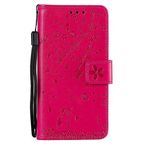 Hülle für Samsung Galaxy J6 Plus PU Leder Handyhülle Flip Case Tasche Wallet Flipcase Blumenkatze Schutzhülle Bookstyle Ständer Kartensätze Magnetisch Handytasche für Samsung Galaxy J6 Plus Rose rot