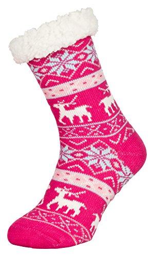 Tobeni 1 Paar Damen Hüttensocken ABS Socken Kuschelsocken mit Anti-Rutsch Noppen Sohle Grösse One Size Farbe Deer Pink