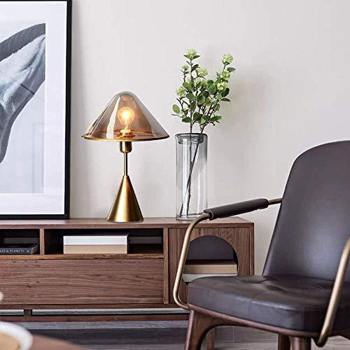 Kreative Mode Nordic Modern Golden Metal Glas Tischlampe Wohnzimmer Schlafzimmer Nachtbett Kunst Hotel Pilzform Eingang Dekorative Tischlampe 33X33X43Cm Elegant, HJY