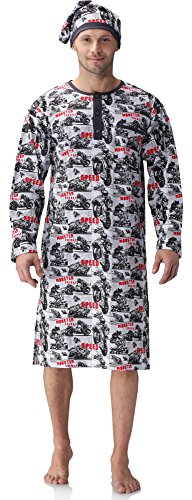 Cornette Herren Nachthemd mit Schlafmütze 110V2016 (Weiß/Schwarz(Motorrad), M)