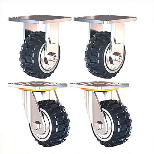 Casters Heavy Duty Castor Wheels Trolley Furniture Industrial Castors Polyurethane Swivel Castor with Brakes Load Capacity 1000kg 4pcs (Color : Directional+Swivel, Size : 6inch)
