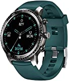 Tinwoo Smart Watch for Android / iOS Phones, Support Wireless Charging ,Bluetooth Health Tracker with Heart Rate Monitor, Digital Smartwatch for Women Men, 5ATM Waterproof (TPU Band Green)