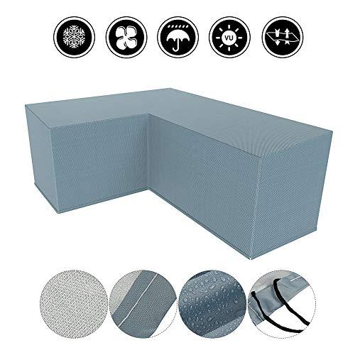 Beenle-Icey - Funda para muebles de jardín en forma de L, impermeable, resistente al viento, resistente al polvo y a los rayos UV, poliéster 210D, para exteriores, juego de comedor, sofá esquinero