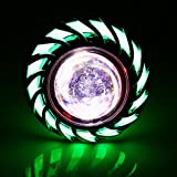 Motorcycle Hi/Low Beam LED Projector Headlight, Keenso Dual Halo Lens Angel Devil Eye Spot Lights (Green Halo Ring)