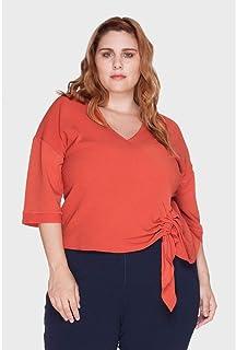 Blusa Cachê Fran Silk Listras Plus Size