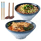 Ciotola da zuppa in ceramica giapponese Ramen, 2 set (6 pezzi) da 1600 ml con cucchiaio e bacchette, per tagliatelle istantanee, zuppa, tagliatelle, Pho, Udon e Soba (blu)