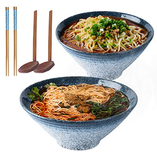 9 Inch Ceramic Japanese Ramen Noodle Soup Bowl, 2 Sets (6 Piece) 1600ml Multi Purpose Bowl with Matching Spoon and Chopsticks, for Instant Noodles, Soup, Noodle, Pho, Udon and Soba (Blue)