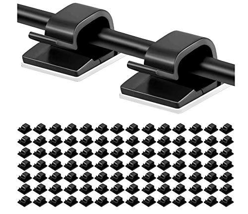 100 piezas Clips adhesivos para cables Soporte de gestión de cables Organizador de cables eléctricos Organizadores de cables de plástico Clip para fijar cables negros