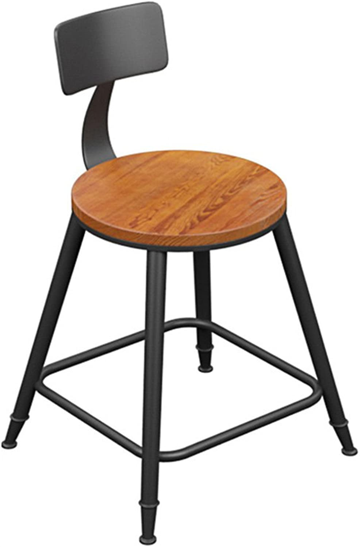 DQMS Iron Solid Wood Bar Chair, Bar Stool Chair Simple High Bar Chair High Stool High Chair Bar Stool Bar Chair Back Front Chair (Size   45CM)