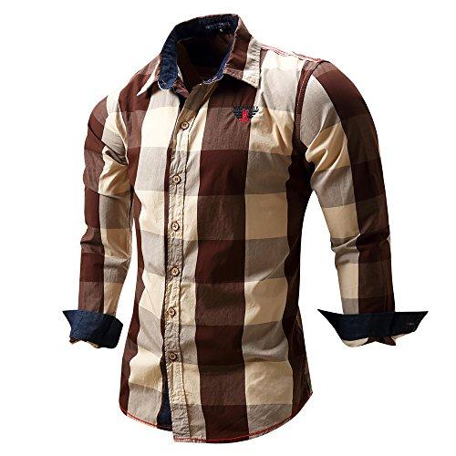 FREDD MARSHALL Men's Long Sleeve Slim Fit 100% Cotton Plaid Shirts Coffee, EUR X-Large, USA L