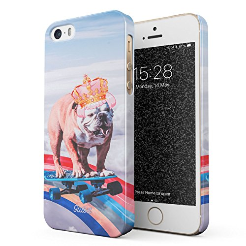 Glitbit Compatible with iPhone 5 / 5s / SE Case French Bulldog Flying Rainbow Dog Trippy Laser Unicorn Doggo Paw Funny Gift for Dog Lover Thin Design Durable Hard Shell Plastic Protective Case Cover