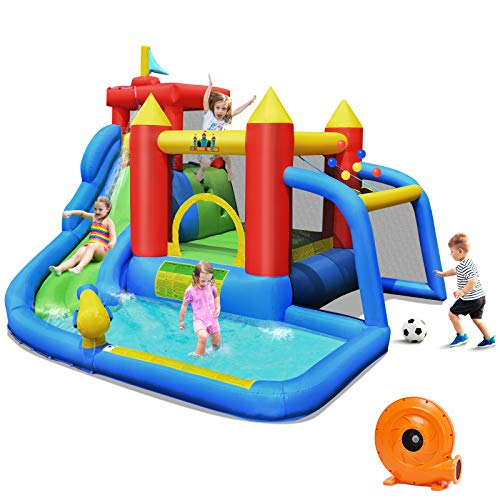 BOUNTECH Inflatable Bounce House, 7 in 1 Water Slide Park w/ Jumping Area, Climbing Wall, Splash Pool, Cannon, Ball Gate, Including Carry Bag, Repair Kit, Stakes (with 740W Air Blower)