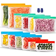 12 Pack Reusable Storage Bags (2 Gallon Bags + 4 Lunch Bags + 4 Sandwich Bags + 2 Snack Bags), BPA -Free & Freezer Bags, Leakproof Storage Bag for Food, Travel, Home Organization