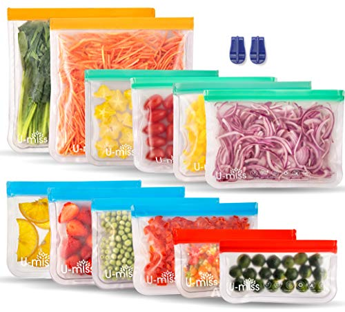 Reusable Storage Bags, BPA -Free & Freezer Bags, Leakproof Storage Bag for Food, Travel, Home...