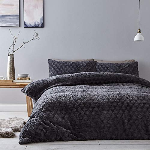 Catherine Lansfield Soft Touch Diamond Fur King Duvet Set Grey