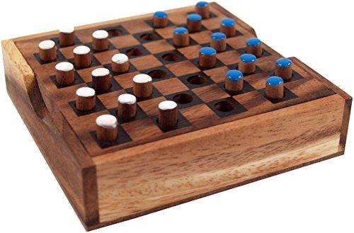 Guru-Shop Bordspel, Houten Gezelschapsspel - Dammen, Bruin, 3x14x14 cm, Bordspellen Behendigheidsspellen