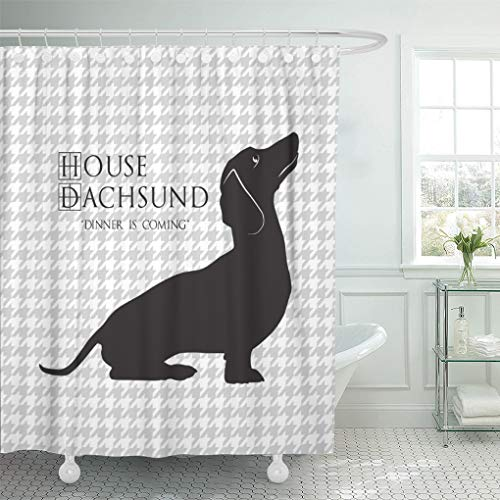"""Semtomn Shower Curtain Houndstooth House Dachshund Dinner Coming Funny Doxie Winter Humor 66""""x72"""" Home Decor Waterproof Bath Bathroom Curtains Set with Hooks"""