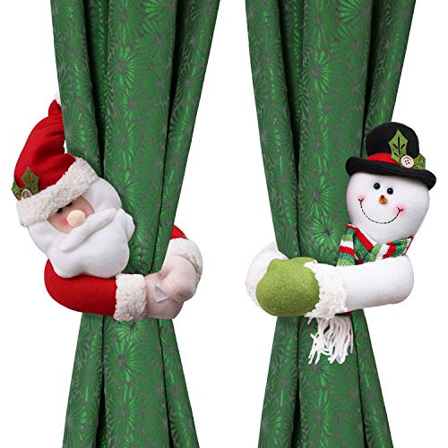 Cooraby 2 Pieces Christmas Curtain Buckles Santa Snowman Curtain Holdback Fastener Tiebacks for Christmas Ornaments Wine Bottle Topper Xmas Home Decor Window Accessories