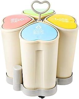 Poubelle de Tri Sélectif,Poubelle de Recyclage 4 en 1 Grande Capacité SystèMe de SéParation Des DéChets Humides Secs,Pour ...