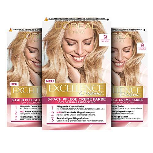 L'Oréal Paris Excellence Creme Permanente Haarfarbe, 100% Grauhaarabdeckung, Haarfärbeset mit Coloration, Shampoo und 3-fach Pflegecreme, 9 Hellblond, 3 x 268 g