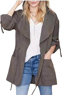 VITryst 女性フードジャケットトレンチコートオープンフロントラペル固体色レインコート
