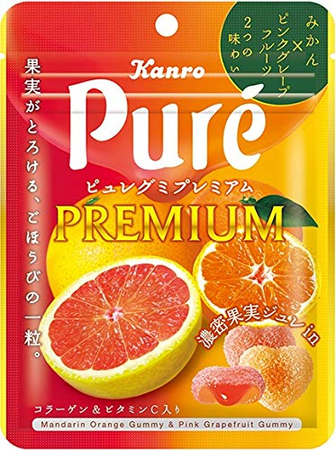 カンロ ピュレグミプレミアムみかん&ピンクグレープフルーツ 54g ×6個
