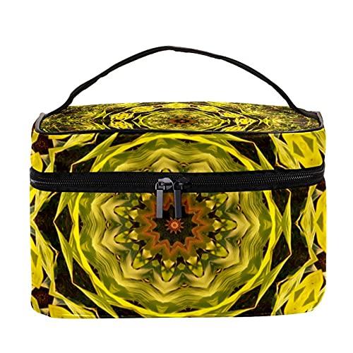 Bolsa de maquillaje con diseño de mandala verde para viajes, bolsa de maquillaje, organizador con cremallera, para mujeres y niñas